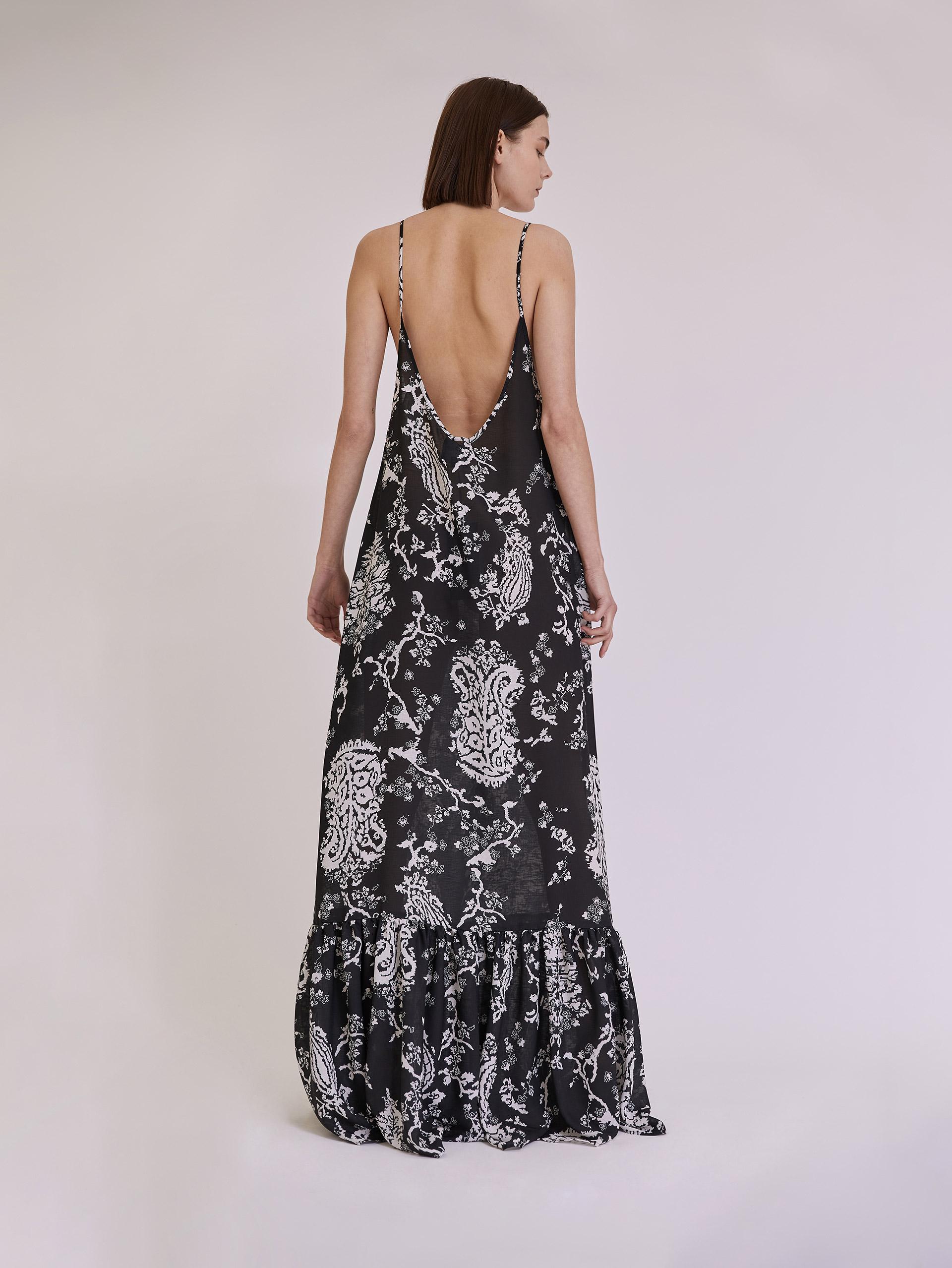 Αμάνικο maxi εμπριμέ φόρεμα