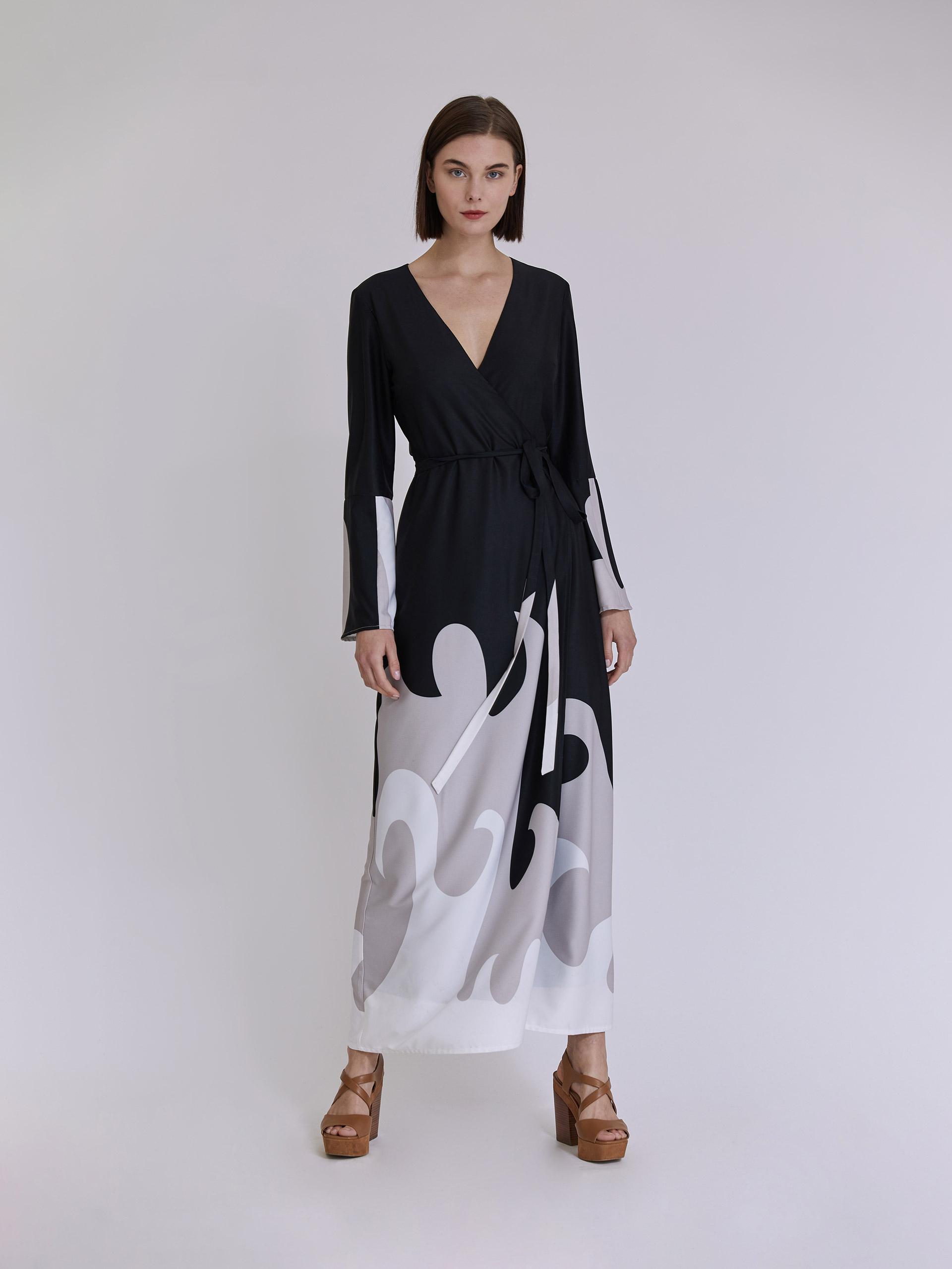 Κρουαζέ maxi εμπριμέ φόρεμα