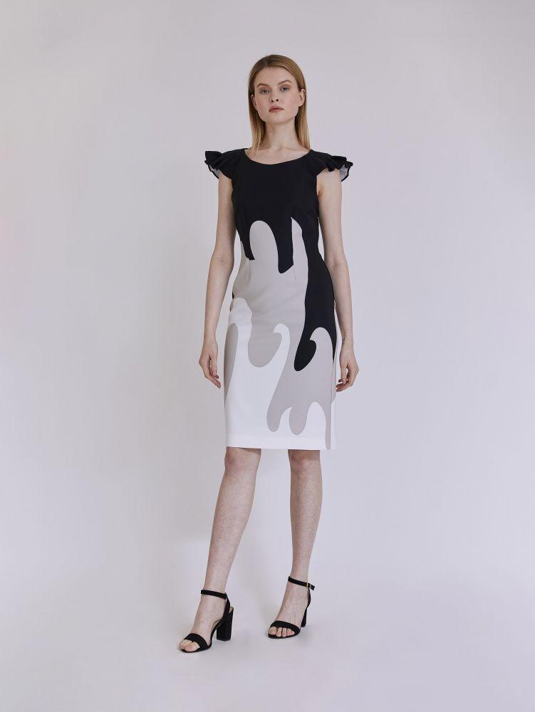 Κοντομάνικο εμπριμέ φόρεμα