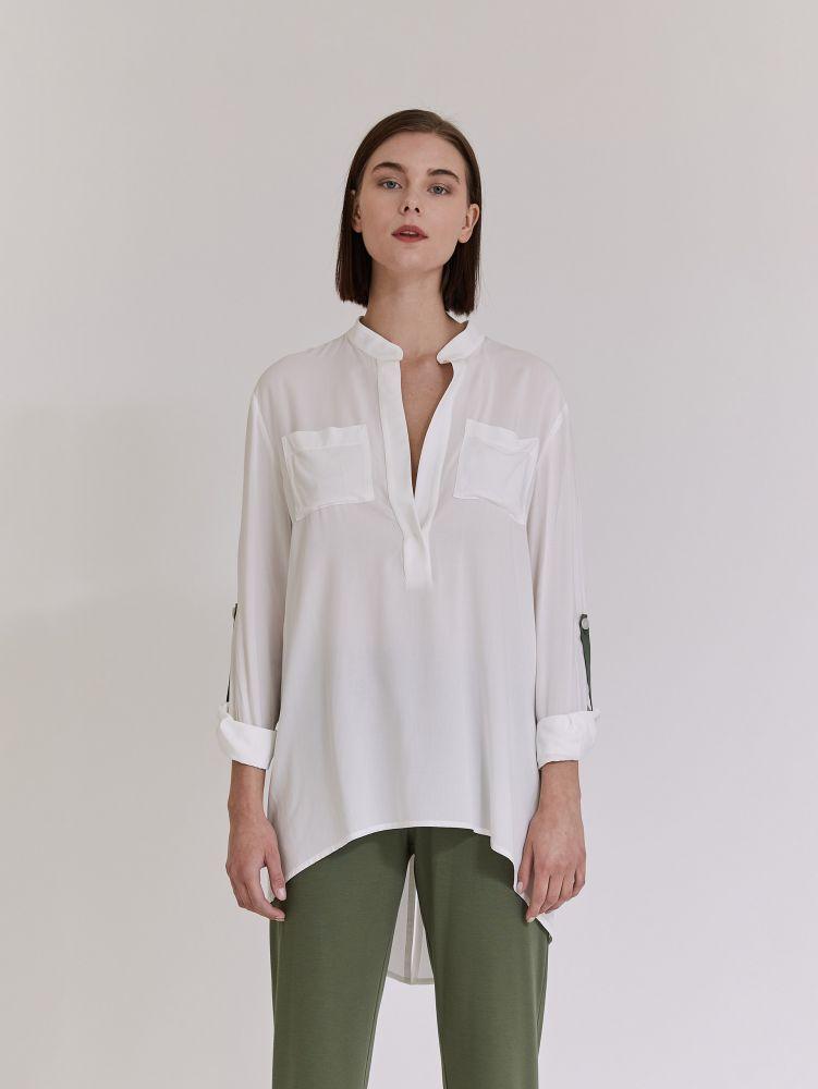 Μακριμάνικο πουκάμισο με ασυμμετρία