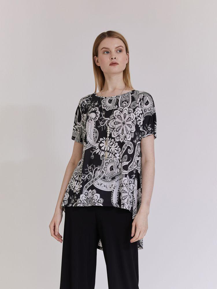 Κοντομάνικη εμπριμέ ασύμμετρη μπλούζα