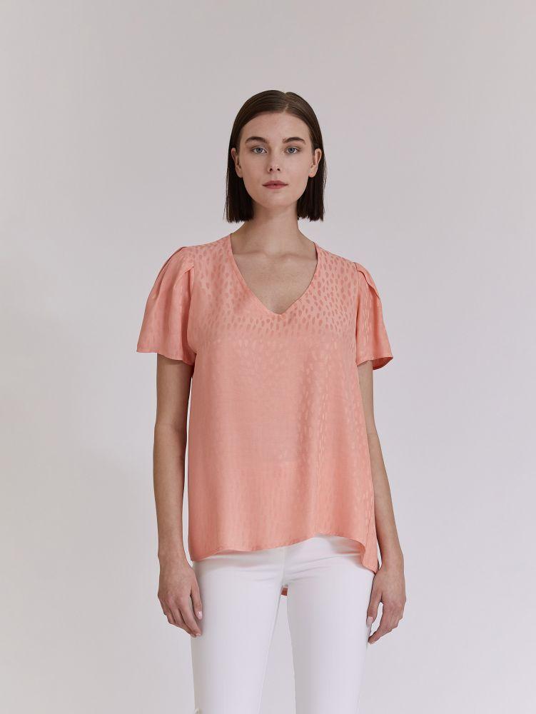 Κοντομάνικη μπλούζα με πιέτες